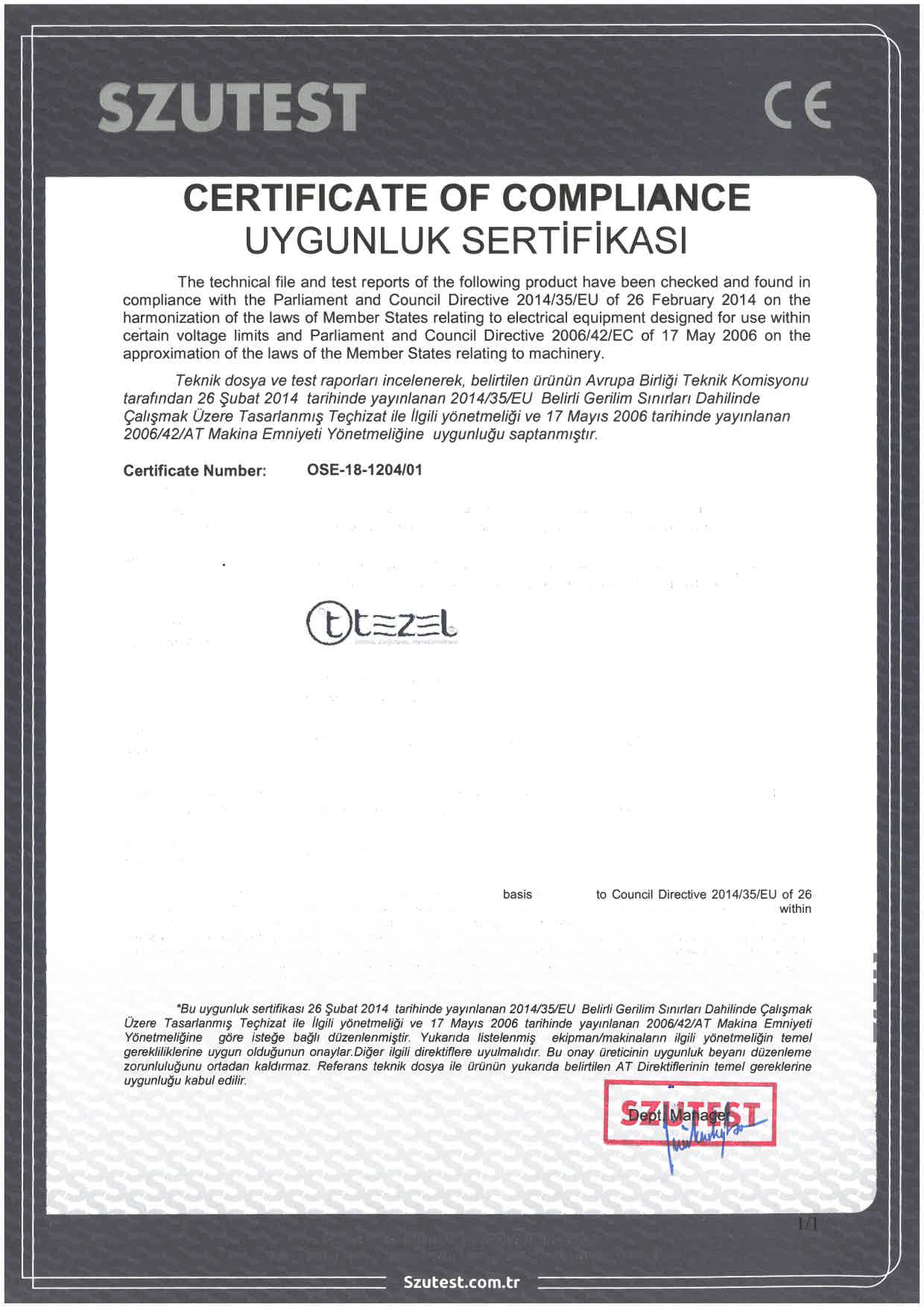 ce certificate received european conformity union which